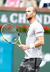 March 10, 2019 - Indian Wells, CA, U.S. - INDIAN WELLS, CA - MARCH 10: Adrian Mannarino (FRA) reacts after winning a set during the second round of the BNP Paribas Open on March 10, 2019, at the Indian Wells Tennis Gardens in Indian Wells, CA. (Photo by Adam Davis/Icon Sportswire) (Credit Image: © Adam Davis/Icon SMI via ZUMA Press)