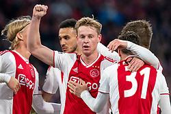 08-05-2019 NED: Semi Final Champions League AFC Ajax - Tottenham Hotspur, Amsterdam<br /> After a dramatic ending, Ajax has not been able to reach the final of the Champions League. In the final second Tottenham Hotspur scored 3-2 / Kasper Dolberg #25 of Ajax, Frenkie de Jong #21 of Ajax, Nicolas Tagliafico #31 of Ajax, Noussair Mazraoui #12 of Ajax