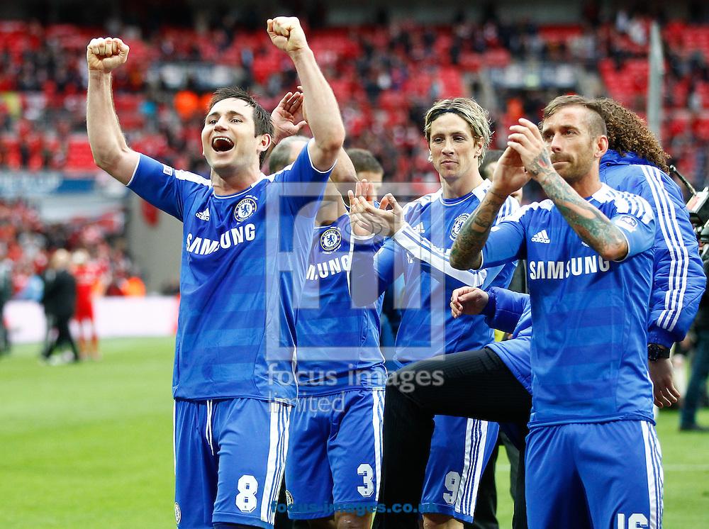 Picture by Andrew Tobin/Focus Images Ltd. 07710 761829. 5/5/12. Frank Lampard of Chelsea celebrates after winning 2-1 during the FA Cup Final between Chelsea and Liverpool at Wembley Stadium, London