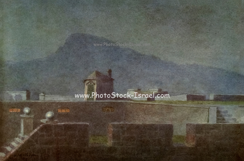 On the Ramparts of the old Castle (moonlight) From the book ' The Cape peninsula: pen and colour sketches ' described by Réné Juta and painted by William Westhofen. Published by A. & C. Black, London  J.C. Juta, Cape Town in 1910