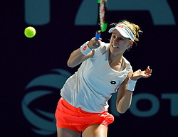 DOHA, Feb. 14, 2019  Alison Riske of the United States hits a return during the women's singles second round match between Alison Riske of the United States and Julia Goerges of Germany at the 2019 WTA Qatar Open in Doha, Qatar, Feb. 13, 2019. Alison Riske lost 1-2. (Credit Image: © Nikku/Xinhua via ZUMA Wire)
