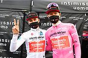 Foto Jennifer Lorenzini/LaPresse  <br /> 22 ottobre 2020 Italia<br /> Sport Ciclismo<br /> Giro d'Italia 2020 - edizione 103 - Tappa 18 - Da Pinzolo a Laghi di Cancano (Parco Nazionale Stelvio) (km 207)<br /> Nella foto: HINDLEY Jai TEAM SUNWEB vincitore di tappa, KELDERMAN Wilco TEAM SUNWEB maglia rosa<br /> <br /> Photo Jennifer Lorenzini/LaPresse <br /> October 22, 2020  Italy  <br /> Sport Cycling<br /> Giro d'Italia 2020 - 103th edition - Stage 18 - From Pinzolo to Laghi di Cancano (Parco Nazionale Stelvio)<br /> In the pic: HINDLEY Jai TEAM SUNWEB winner of the stage, KELDERMAN Wilco TEAM SUNWEB pink jersey