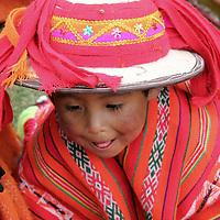 South America, Peru, Willoq. Boy in hat  of Willoq Community.