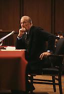 Secretary of State George Shultz testifies before a senate hearing in  1988..Photograph by Dennis Brack BB31