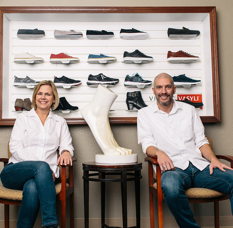 30 November 2018– Dr. Elizabeth Klawitter and Dr. Nathan Penney are photographed at Mid Plains Podiatry as the face of podiatry for FACES 2019.