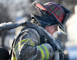 St. Paul firefighters at the scene of a house fire at Hatch Ave. and Park St. Wednesday, January 30, 2019, In St. Paul, Minn. Photo by David Joles/Minneapolis Star Tribune/TNS/ABACAPRESS.COM