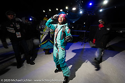 Oksana Voevodina dancing (in 6 degree F/ -14.5 C weather) on Lake Baikal with friends at the wrap party after the close of the Baikal Mile Ice Speed Festival. Maksimiha, Siberia, Russia. Saturday, February 29, 2020. Photography ©2020 Michael Lichter.