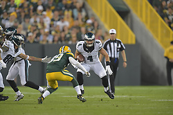 GJ Kinne against the Green Bay Packers at Lambeau Field on August 29, 2015 in Green Bay, Pennsylvania. The Eagles won 39-26. (Photo by Drew Hallowell/Philadelphia Eagles)