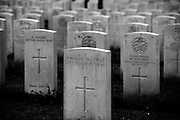 Somme WW1 Battlefield, July 1st-November 1916, France. Connaught Road CWGC Cemetry. February 2014<br /> On many occasions more than one body was placed in the grave, here are buried 'Twelve Soldiers of the Great War', all unidentified but their names will be on the Thiepval Memorial nearby.<br /> The German Army took the area around Thiepval at the end of September 1914. It then established a line through the area with troops from its 26th Reserve Division. Men from this Division were still in occupation when Commonwealth forces launched their assault on the 1 July 1916. During this attack, the 36th (Ulster) Division were detailed to attack the German positions north of Thiepval, known as the Hansa Line and the Schwaben Redoubt. Launched from Thiepval Wood, initially their assault was successful and some leading elements even reached as far as the German's second line of defence (Stuff Redoubt). However, by the end of the day, as a result of the units on either side of it failing to take their objectives (in particular the 32nd Division's failure to take Thiepval), it had been forced back to the original German front line. It would take until the 26 September 1916, before Thiepval finally fell to the 18th Division. Thiepval then remained under Allied occupation until 25 March 1918, when it was lost during the great German offensive, but it was retaken on the following 24 August by the 17th and 38th (Welsh) Divisions.<br /> <br /> Connaught Cemetery was begun during the early autumn of 1916 and at the Armistice it contained 228 burials (the whole of Plot I except 10 graves). It was then very greatly increased when graves were brought in from battlefields in the immediate area