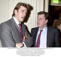 MR BEN ELLIOT nephew of Camilla Parker Bowles and his father MR SIMON ELLIOT, at a party in London on 29th April 2002.OZL 74