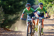 Adelheid Morath and Candice Lill of Team Summit win the 2018 FNB Wines2Whales Chardonnay 3 day mountain bike event stage 1 from Lourensford to Oak Valley. Image by Greg Beadle
