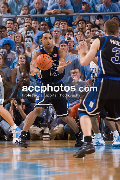 06 February 2008: Duke Blue Devils guard Gerald Henderson (15) during a 89-78 win over the North Carolina Tar Heels at the Dean Smith Center in Chapel Hill, NC.