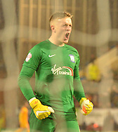 Preston North End Goalkeeper, Jordan Pickford celebrates his teams opener during the Sky Bet Championship match between Burnley and Preston North End at Turf Moor, Burnley, England on 5 December 2015. Photo by Mark Pollitt.