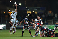 Charlie Davies of the Newport Gwent Dragons © clears the ball from the base of the maul as Arnaud Mignardi of Brive (l) attempts to block. European Challenge cup pool 3 match, Newport Gwent Dragons v Brive, at Rodney Parade in Newport, South Wales on Friday 14th October 2016.<br /> pic by  Simon Latham, Andrew Orchard sports photography.