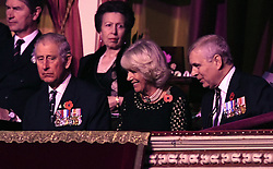 (left to right) Timothy Laurence, the Prince of Wales, the Princess Royal, the Duchess of Cornwall and the Duke of York at the annual Royal Festival of Remembrance at the Royal Albert Hall in London.