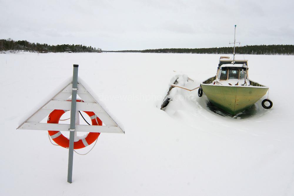 Iced in boat, Nellim, Finland