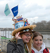 Putney, London, spectator, with Boat Race Hat, 156th University Boat Race, River Thames, between Putney and Chiswick, on the Championship Course.  Saturday  03/04/2010 [Mandatory Credit Karon Phillips/Intersport Images]