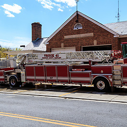 Frederick, MD, USA - April 26, 2015: The Federick Maryland ladder truck at the fire station.