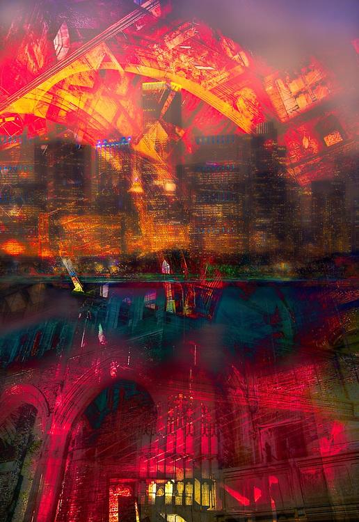Urban night Geometrispective, abstract digital photography.