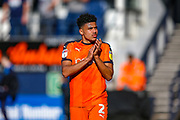 Luton Town defender James Justin thanks fans at the end of the EFL Sky Bet League 1 match between Luton Town and Coventry City at Kenilworth Road, Luton, England on 24 February 2019.