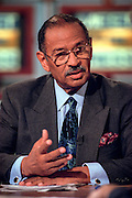 Rep. John Conyers (D-MI), ranking democrat on the House Judiciary committee discusses the upcoming impeachment hearings against President Clinton during NBC's Meet the Press October 4, 1998 in Washington, DC.