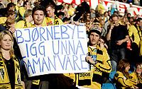 """Fotball<br /> Tippeligaen Eliteserien<br /> 02.09.07<br /> Ullevaal Stadion<br /> Vålerenga VIF - IK Start<br /> Start-supportere med melding til trener Stig Inge Bjørnebye - """" Bjørnebye ligg unna daman' våres """"<br /> Foto - Kasper Wikestad"""