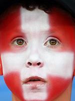GEPA-1106086009 - BASEL,SCHWEIZ,11.JUN.08 - FUSSBALL - UEFA Europameisterschaft, EURO 2008, Schweiz vs Tuerkei, SUI vs TUR, Vorberichte. Bild zeigt einen Fan der Schweiz. <br />Foto: GEPA pictures/ Philipp Schalber