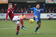 AFC Wimbledon attacker Harry Forrester (11) battles for possession with Northampton Town forward Sam Hoskins (14) during the EFL Sky Bet League 1 match between AFC Wimbledon and Northampton Town at the Cherry Red Records Stadium, Kingston, England on 10 February 2018. Picture by Matthew Redman.