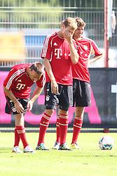 12.07.2011, Bayern Trainingsgelaende, Muenchen, GER, 1.FBL, Training Bayern Muenchen, im Bild Franck Ribery (Bayern #7) Holger Badstuber (Bayern #28) und Thomas Mueller (Bayern #25)   // during the training session,  on 2011/07/12, Training Ground, Munich, Germany, EXPA Pictures © 2011, PhotoCredit: EXPA/ nph/  Straubmeier       ****** out of GER / CRO  / BEL ******