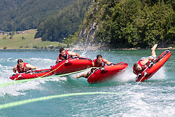 17.07.2019, Sankt Gilgen, AUT, OeSV, Pressetermin Herren Speed Team, Wasserskifahren und Wakesurfen beim Wolfgangsee, im Bild v.l. Christoph Neumayer, Vincent Kriechmayr, Christoph Krenn, Johannes Kröll // f-l- Christoph Neumayer Vincent Kriechmayr Christoph Krenn Johannes Kröll during a press conference of the Austrian Ski Association (OeSV), Mens Speed Team waterskiing and wakesurfing at the Wolfgangsee Sankt Gilgen, Austria on 2019/07/17. EXPA Pictures © 2019, PhotoCredit: EXPA/ Johann Groder