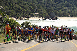 The Peloton in action during the Men's Road race which takes place on the Copacabana on the first day of the Rio Olympics Games, Brazil.