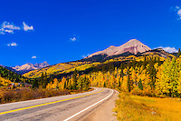 Fall color, Colorado Highway 550 (Engineer Mountain in background),  San Juan Mountains, north of Durango, Colorado USA.