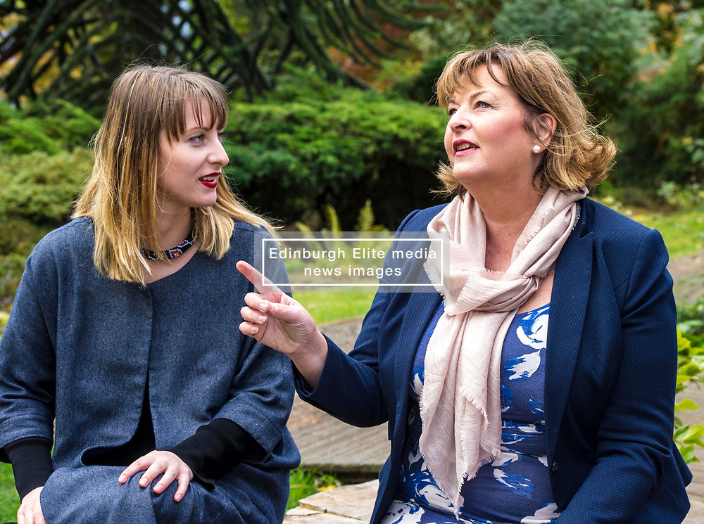 Pictured:  Shona Cowie and Fiona Hyslop discover they used to live in the same street so had tales to tell<br /> <br /> Fiona Hyslop MSP. Cabinet Secretary for Culture, Tourism & External Affairs today previewed the 2018 festival, which looks at the future of storytelling in Scotland, nurturing local roots, reaching out globally and celebrating Celtic traditions shared by Scotland and Ireland. During her preview Ms Hyslop met festival director Donald Smith, David Mitchell of Scotland's Garden Scheme, and storytellers Miriam Morris and Daniel Allison.