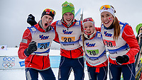 Skiskyting<br /> 30.01.2015<br /> Foto: Gepa/Digitalsport<br /> NORWAY ONLY<br /> <br /> BUERSERBERG - ØSTERRIKE <br /> European Youth Olympic Festival 2015, relay 2x6km ladies and 2x7.5 men, mixed team. Image shows the rejoicing of the winning team from norway: Sturla Holm Lægreid, Aleksander Fjeld Andersen, Karoline Erdal and Mathea Tofte (NOR).