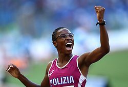 May 31, 2018 - Rome, Italy - Ayomide Folorunso (ITA) celebrates after competing in 400m hurdles women during Golden Gala Iaaf Diamond League Rome 2018 at Olimpico Stadium in Rome, Italy on May 31, 2018. (Credit Image: © Matteo Ciambelli/NurPhoto via ZUMA Press)