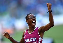May 31, 2018 - Rome, Italy - Ayomide Folorunso (ITA) celebrates after competing in 400m hurdles women during Golden Gala Iaaf Diamond League Rome 2018 at Olimpico Stadium in Rome, Italy on May 31, 2018. (Credit Image: © Matteo Ciambelli/NurPhoto via ZUMA Press)