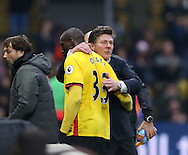 Watford's Walter Mazzarri celebrates with goalscorer Stefano Okaka during the Premier League match at Vicarage Road Stadium, London. Picture date December 10th, 2016 Pic David Klein/Sportimage