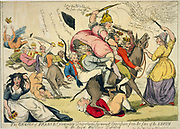 Genius of France extirpating despotism ... Or the royal warriors defeated. Isaac Cruikshank, 1792.  Marianne (France) determined to inflict death on all despots (world rulers). Maria I of Portugal tearing hair, bottom left.   Revolution