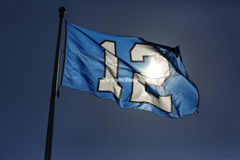 The sun shines through the 12th Man flag. (Bettina Hansen / The Seattle Times)