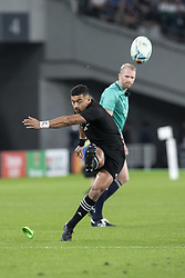 November 1, 2019, Tokyo, Japan: New Zealand's Richie Mo'unga kicks the ball for a conversion during the Rugby World Cup 2019 Bronze Final between New Zealand and Wales at Tokyo Stadium. New Zealand defeats Wales 40-17. (Credit Image: © Rodrigo Reyes Marin/ZUMA Wire)