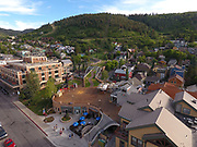 SHOT 7/1/17 6:54:16 PM - Drone photos of Park City, Utah. Park City lies east of Salt Lake City in the western state of Utah. Framed by the craggy Wasatch Range, it's bordered by the Deer Valley Resort and the huge Park City Mountain Resort, both known for their ski slopes. Utah Olympic Park, to the north, hosted the 2002 Winter Olympics and is now predominantly a training facility. In town, Main Street is lined with buildings built during a 19th-century silver mining boom. (Photo by Marc Piscotty / © 2017)