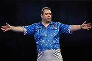 Brendan Dolan hits a 170 check out and celebrates during the World Darts Championships 2018 at Alexandra Palace, London, United Kingdom on 19 December 2018.