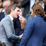 LONDON, ENGLAND - JULY 16: Eddie Redmayne and Bradley Cooperat the Mens Singles Final between Roger Federer of Switzerland and Marin Cilic of Croatia during the Wimbledon Lawn Tennis Championships at the All England Lawn Tennis and Croquet Club at Wimbledon on July 16, 2017 in London, England. (Photo by Tim Clayton/Corbis via Getty Images)