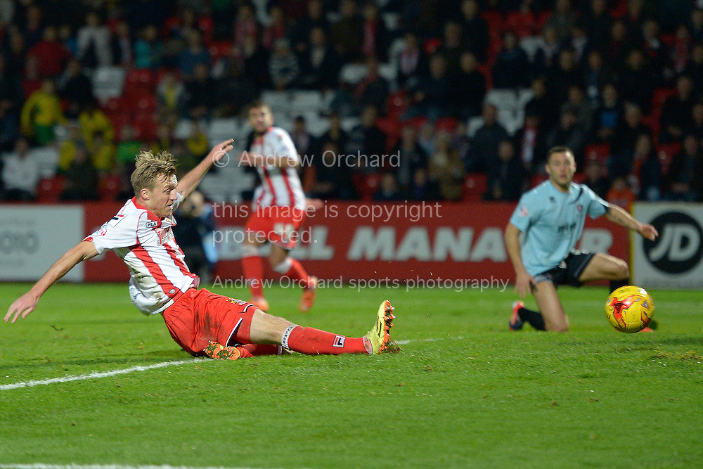 Lee Barnard of Stevenage scores his sides fourth goal of the game to make it 4-0. Skybet football league two match, Stevenage FC v Cheltenham Town at the Lamex Stadium in Stevenage, Herts on Saturday 15th November 2014.<br /> pic by John Patrick Fletcher, Andrew Orchard sports photography.