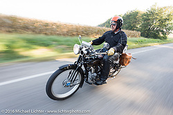 Robert Addis of New York riding his 4-cylinder 1916 Henderson during the Motorcycle Cannonball Race of the Century. Day-4 ride from Bloomington, IN to Cape Girardeau, MO. USA. Wednesday September 14, 2016. Photography ©2016 Michael Lichter.