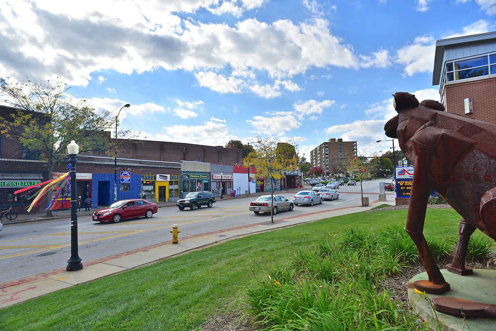 Street view of the Highland Square Branch of the Akron-Summit County Public Library.