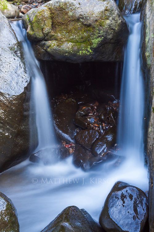 Close up of a tucked away waterfall in Ghost Dance Canyon