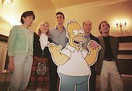 Dan Castellaneta (second from right) who speaks the voice of Homer Simpson, pictured at the Assembly Rooms in Edinburgh, where the Simpsons-Mania show was taking place, celebrating 10 years   of the series on British television. Simpson-Mania will be staged in London on 17th and 18th August 2000. With him (l to r) are Yeardley Smith (Lisa), Nancy Cartwright (Bart), Hank Azaria (Moe) and Harry Shearer (Mr Burns).