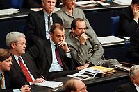 20 JAN 2000, BERLIN/GERMANY:<br /> Friedrich Merz, MdB, CDU, und Michael Luther, MdB, CDU, beide Stellv. Vorsitzende CDU/CSU Fraktion, während der Debatte zur CDU Spendenaffäre, Plenum, Deutscher Bundestag<br /> IMAGE: 20000120-01/01-27
