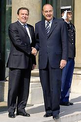 September 21, 2016 - Paris, IDF, France - Le chancellier Allemand GERAHRD SCHRODER & le president Francais JACQUES CHIRAC . Reunion Franco - Allemande au palais de l'Elysee. (Credit Image: © Visual via ZUMA Press)